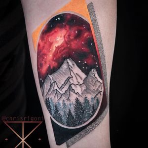 Tattoo by Chris Rigoni #ChrisRigoni #spacetattoos #realism #realistic #linework #illustrative #dotwork #abstract #mountains #forest #glaxy #space #stars #sky #landscape #mashup