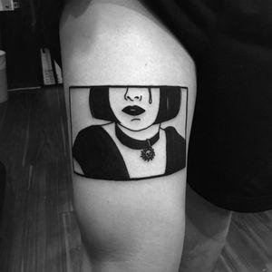 Tattoo by Noil Culture #NoilCulture #leontheprofessionaltattoos #LeonTheProfessional #movietattoos #film #leon #Mathilda #illustrative #graphicart #popart #blackwork