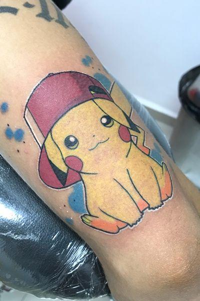 Pikachu #kriispytattoo #ink #tattooartist #Pikachu #colortattoo #comics #pokemon