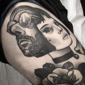 Tattoo by ShawnTriple6 #ShawnTriple6 #leontheprofessionaltattoos #LeonTheProfessional #movietattoos #film #leon #Mathilda #blackandgrey #neotraditional #rose #portait