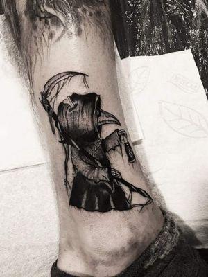Doctor reaper creep! Instagram : @nikita.tattoo #tattooartist #tattooart #blackworktattoo #blackwork #lineworktattoo #LineworkTattoos #Lithuania #tattooideas #creepytattoo #horrortattoo #inked #PlagueDoctorTattoos #reapertattoo #surrealism