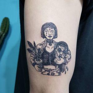 Tattoo by 92 Noise #92noise #leontheprofessionaltattoos #LeonTheProfessional #movietattoos #film #leon #Mathilda #blackwork #illustrative #linework #severedhead #tears #blood #plant