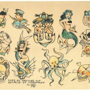 Vintage flash from Tattoo Ole #tattooflash #TattooOle #Denmark