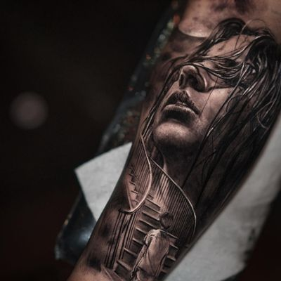 Tattoo by Yomico #Yomico #hyperrealism #realism #realistic #portrait #lady #surreal