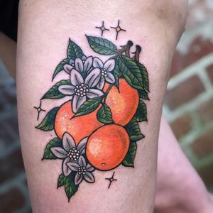Tattoo by Ronja Block #RonjaBlock #fruittattoos #color #traditional #oranges #orangeblossom #leaves #fruit #food #stars #sparkle