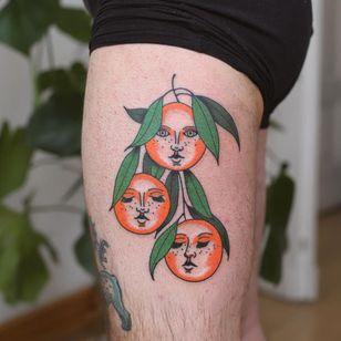 Tattoo by Patryk Hilton #PatrykHilton #fruittattoo #color #illustrative #cute #oranges #portrait #leaves #nature #foodtattoo