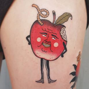 Tattoo by Rion #Rion #fruittattoo #color #traditional #Japanese #vintage #mashup #apple #cute #worm #nature #foodtattoo