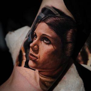 Tattoo by Yomico #Yomico #hyperrealism #realism #realistic #StarWars #portrait #PrincessLeia