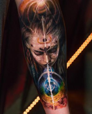 Tattoo by Yomico #Yomico #hyperrealism #realism #realistic #portrait #light #space #surreal #lady