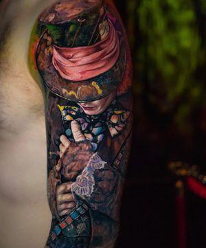 Tattoo by Yomico #Yomico #hyperrealism #realism #realistic #portrait #AliceinWonderland #JohnnyDepp