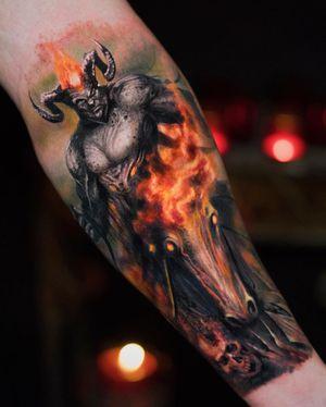 Tattoo by Yomico #Yomico #hyperrealism #realism #realistic #demon #devil #fire