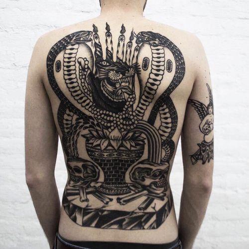 Tattoo by xgusakx #xgusakx #snaketattoo #blackwork #cobra #panther #vase #lotus #skull #skeleton #bones #snake #reptile #backpiece #backtattoo #hand #candles #surreal