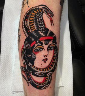 Thanks Matthew, always fun to do babe and snake. Done @trueblue_tattoo #truebluetattoo #snake #color #traditional #ladyhead