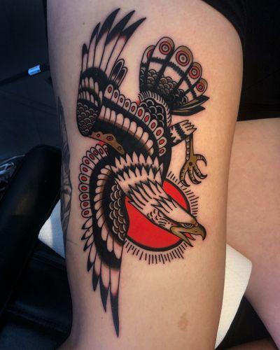 Eagle for Eva! Thank you! 🙏🏻🙏🏻 done @trueblue_tattoo #truebluetattoo #color #traditional #eagle
