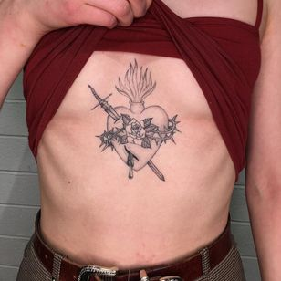 Tattoo by Nina Chwelos #NinaChwelos #illustrative #linework #fineline #sacredheart #rose #fire #sword #thorns