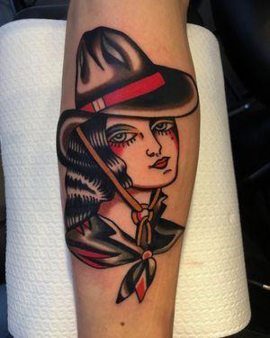 Cowgirl, Thanks Bas! Done @trueblue_tattoo #truebluetattoo #color #traditional #ladyhead