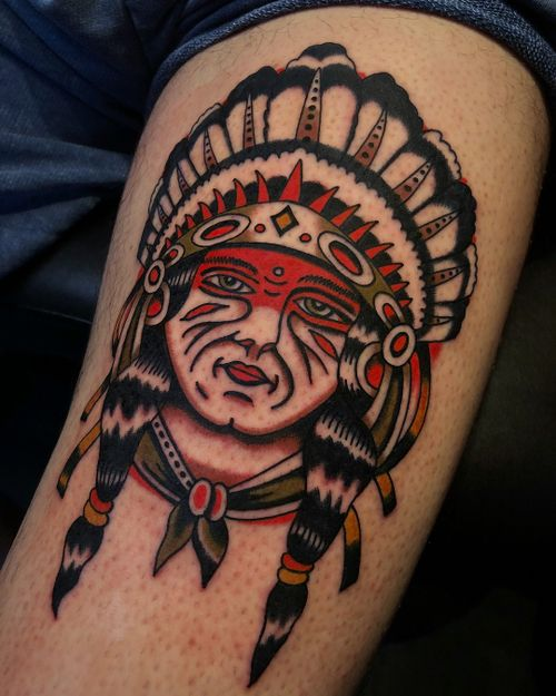 Chief on Andres. Thanks so much Dude! Done @trueblue_tattoo #truebluetattoo #color #traditional