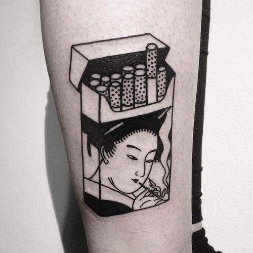 Tattoo by Veleno #Veleno #smokingtattoo #smoking #cigarettes #geisha #smoke #stilllife #blackwork