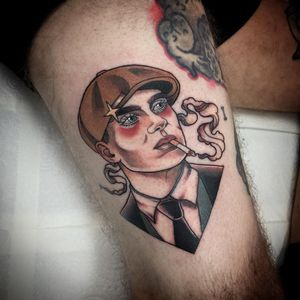 Tattoo by Liz Clements #LizClements #smokingtattoo #color #neotraditional #PeakyBlinders #smoking #cigarette #portrait #star #CillianMurphy #TommyShelby