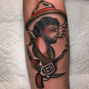 Tattoo by Dave Halsey #DaveHalsey #smokingtattoo #color #traditional #portrait #cowboy #gun #sword #cigarette #smoke