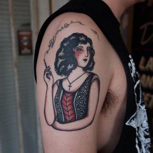 Tattoo by Ivan Antonyshev #IvanAntonyshev #smokingtattoo #lady #portrait #cross #cigarette #smoke #traditional #color