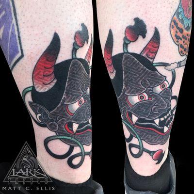 Lark Tattoo artist Matt C. Ellis has started fusing traditional Japanese imagery with geometric designs. See more of Matt's work here: http://www.larktattoo.com/long-island-team-homepage/matt/ . . . . . #colortattoo #Japanese #Japanesetattoo #oni #onitattoo #onimask #onimasktattoo #devil #deviltattoo #devilmask #devilmasktattoo #Japanesefolklore #Japanesefolkloretattoo #geometric #geometrictattoo #tattoo #tattoos #tat #tats #tatts #tatted #tattedup #tattoist #tattooed #inked #inkedup #ink #tattoooftheday #amazingink #bodyart #tattooig #tattoosofinstagram #instatats #larktattoo #larktattoos #larktattoowestbury #westbury #longisland #NY #NewYork #usa #art