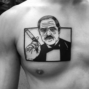 Tattoo by Noil Culture #NoilCulture #smokingtattoo #blackwork #graphicart #popart #portrait #smoking #cigarette #cigar #TheGodfather