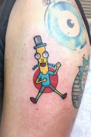 Mr poopybutthole on the upper arm #MrPoopybutthole #rickandmortytattoo #colourtattoo