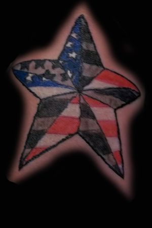 American flag nautical star scar cover up