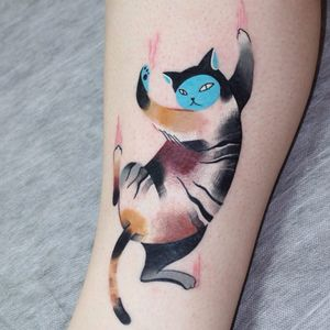 Tattoo by Ann Lilya #AnnLilya #besttattoos #color #watercolor #abstract #cubist #painterly #cat #kitty #catscratches #animal