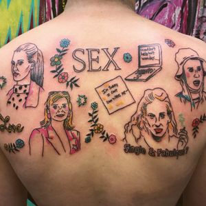 Tattoo by Charline Bataille #CharlineBataille #besttattoos #color #linework #illustrative #Sexandthecity #tvshowtattoo #movietattoo #flowers #floral #funny #tvshow #popculture #cigarette #love #laptop