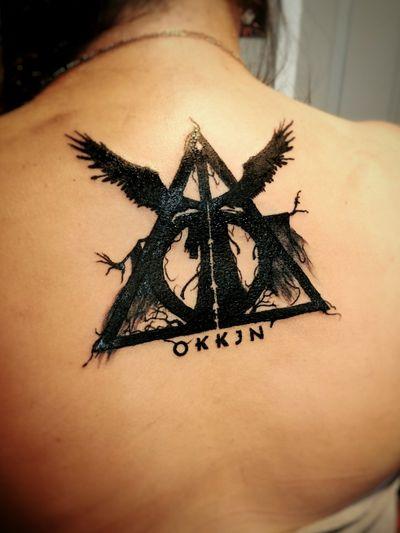 #harrypotter #deathlyhollows #death #magic #symbols #symbolism #blackwork #lettering #design #tattoideas #tattoodesign