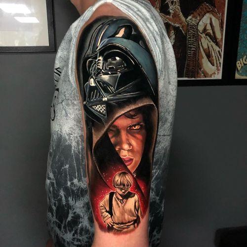 Star Wars Tattoo by Alex Rattray #AlexRattray #realism #realistic #hyperrealism #portrait #popculture #DarthVader #AnakinSkywalker #StarWars #movietattoo #scifi