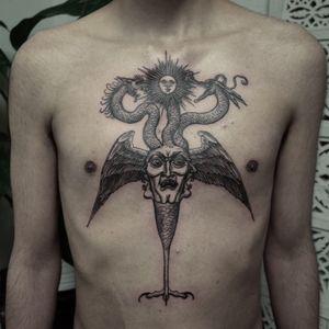 Tattoo by Odd Tattoo #OddTattoo #monstertattoo #monster #blackandgrey #illustrative #linework #darkart #medieval #strange #surreal #creature #wings #feathers #portrait #snakes #dragon #sun
