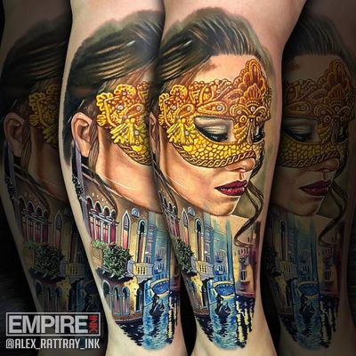 Scenes of Italy Tattoo by Alex Rattray #AlexRattray #realism #realistic #hyperrealism #portrait #ladyhead #lady #mask #landscape #buildings #architecture #gondola #water #Italy #Carnival