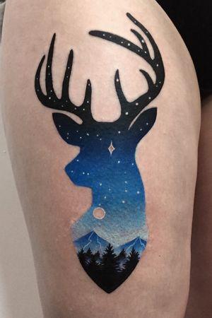 Deer for my brave client 💪🏻 #deertattoo #colortattoo #landscapetattoo #pinkmachinetattoo #foresttattoo #mountaintattoo