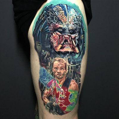 Predator Tattoo by Alex Rattray #AlexRattray #realism #realistic #hyperrealism #portrait #popculture #Predator #movie #movietattoo #ArnoldSchwarzenegger #horror #scifi #Extraterrestrial #alien