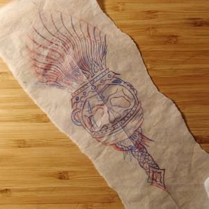 American traditional old school flash skull torch fire tattoo drawing sketch
