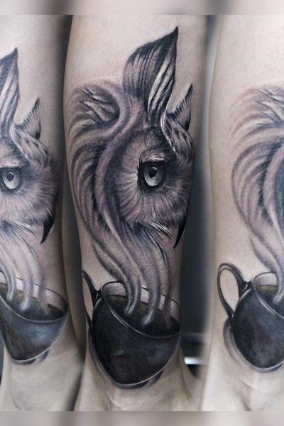 #hand #handtattoo #tattooart #realism #realistic #Tattoodo #tattoopharma #worldfamousink #realismtattoo #blackandgrey #blackandgreytattoo #69level #owltattoo #owl #coffee #coffeetattoo