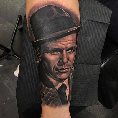 Frank Sinatra Tattoo by Alex Rattray #AlexRattray #realism #realistic #hyperrealism #portrait #popculture #FrankSinatra #blackandgrey #jazz #singer #famous #music #musictattoo