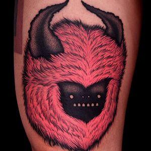 Tattoo by Kamil Czapiga #KamilCzapiga #monstertattoo #darkart #monster #creature #cute #pinkink #horns #strange #surreal