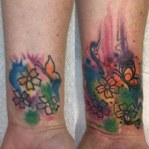 Small rework! 1 hr to complete #neotraditional #newschool #philly #philadelphia #color #BoldTattoos #coverup #coveruptattoo