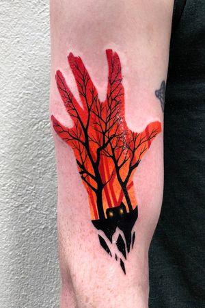 the evil dead tattoo from Dublin 🖤 design by @ollymoss #tattoo #evildead #evildeadtattoo #colortattoo #dublintattoo #gamerink #bydgoszcztattoo #warsawtattoo