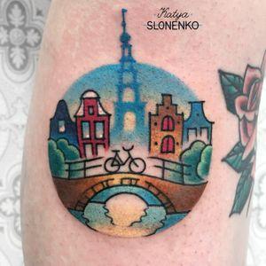 Amsterdam circle with a bridge