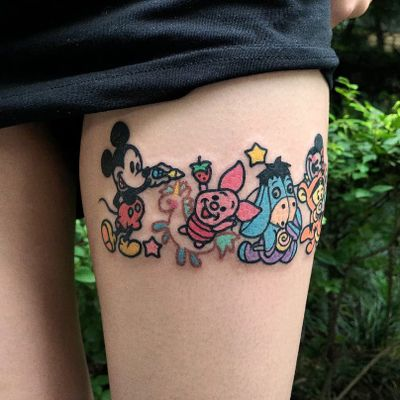 Tattoo by Pikka Cool Cool #Pikkacoolcool #MickeyMousetattoo #MickeyMouse #Disney #mouse #animal #cartoon #newschool #unicron #Piglet #Eeyore #Tigger #stars #strawberry #lollipop #MinnieMouse