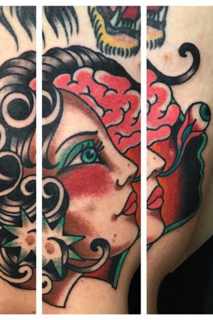 This tattoo was done on luke who orks at my shop. He asked me for a lady and a brain showing some image regarding psychology. We had fun making this one! It was a cool collaboration of his idea and my interpretation. #traditionaltattoo #psychedelictattoo #humanpsyche