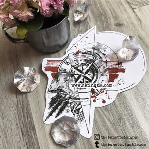 For more designs and commission go to www.skinque.com✨ #trashpolka #compass #compasstattoo #clock #forest #foresttattoo #raven #bird #tattoo #abstract #abstracttattoo #geometric #geometrictattoo #tree #trees #pinetree