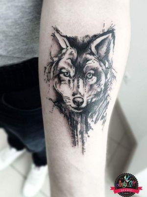 #wolf #wolftattoo #wilk #black #blackandgrey #sketch #lines #dots #shades #armtattoo