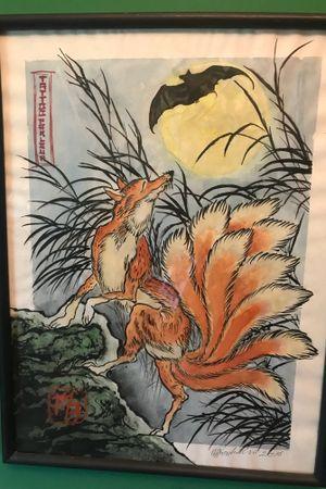 """Kitsune at night"" #tattooparlour #tattoo #tattoos #irezumi #irezumisketch #irezumicollective #irezumiart #kitsune #kitsuneart #fox #night #bat #painting #watercolor #aquarelle #wroclaw #wrocław #wroclawtattoo"
