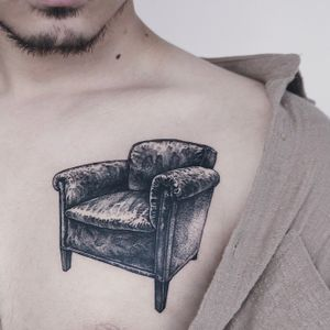 Vintage sofa _ Seoul, South Korea #blackwork #blacktattoo #dotwork #ink #tattooart #sinkart #darkart #blackandgrey #fineline #dot #uncotattoo